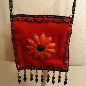 💙❤Red Velvet Bag W/Beaded Shoulder Strap Small